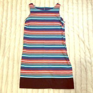 Ann Taylor Loft red blue black striped dress, sz 8